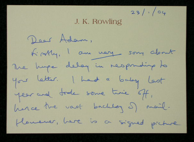 j k  rowling signed photo  u0026 first impression  u0026quot harry potter